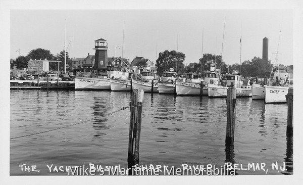 Shark river yacht basin belmar nj 1953 for Belmar nj fishing