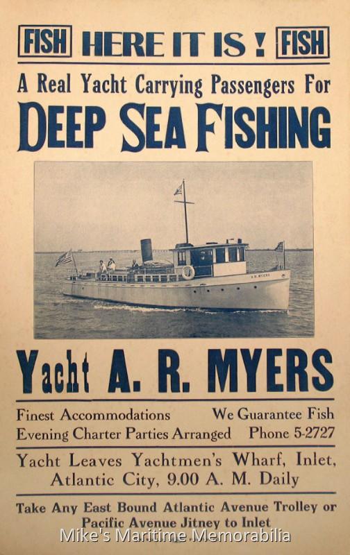 A r myers advertising poster atlantic city nj 1938 for Deep sea fishing atlantic city